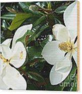 Double Magnolia Wood Print