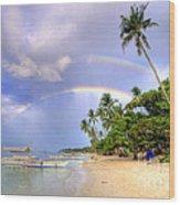 Double Rainbow At The Beach Wood Print by Yhun Suarez