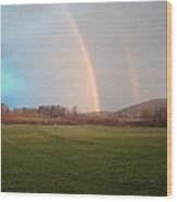 Double Rainbow In The Valley Wood Print by Mark Haley