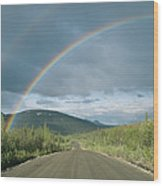 Double Rainbow Over The Denali Highway Wood Print