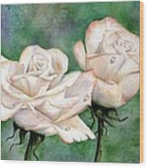 Double Roses Wood Print