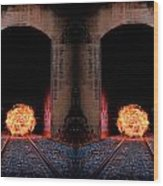 Double Tunnel On Fire Wood Print