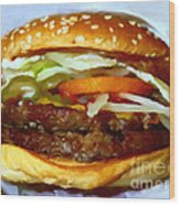 Double Whopper With Cheese And The Works - V2 - Painterly Wood Print