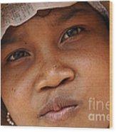 Cambodian Girl Wood Print