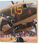 Douglas C47 Skytrain Military Aircraft . Painterly Style . 7d15774 Wood Print by Wingsdomain Art and Photography