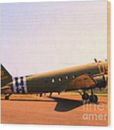 Douglas C47 Skytrain Military Aircraft . Painterly Style 7d15788 Wood Print by Wingsdomain Art and Photography
