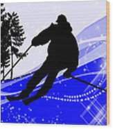 Downhill On The Ski Slope  Wood Print