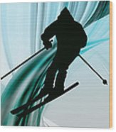 Downhill Skiing On Icy Ribbons Wood Print