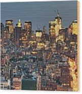 Downtown At Dusk Wood Print by Photo by Dan Goldberger