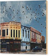 Downtown Bryan Texas 360 Panorama Wood Print by Nikki Marie Smith