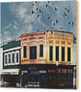 Downtown Bryan Texas Panorama 5 To 1 Wood Print