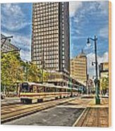 Downtown Buffalo Metro Rail  Heading To The Erie Canal Harbor Wood Print