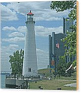 Downtown Detroit Lighthouse Wood Print