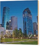 Downtown Houston Wood Print