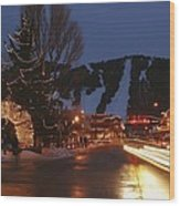 Downtown Jackson Hole At Night Wood Print