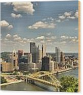 Downtown Pittsburgh Hdr Wood Print by Arthur Herold Jr