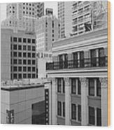 Downtown San Francisco Buildings - 5d19323 - Black And White Wood Print by Wingsdomain Art and Photography