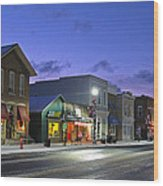 Downtown Waterville At Christmastime Wood Print