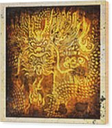Dragon Painting On Old Paper Wood Print