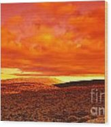 Dramatic Red Sunset At Desert Wood Print by Anna Om