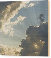 Dramatic Sunbeams And Storm Clouds Maine Photo Poster Print Wood Print