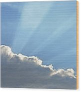 Dramatic Sunbeams And Storm Clouds Maine Poster Print Wood Print