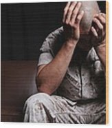 Dramatization Of A Us Marine Affected Wood Print