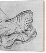 Drawing Class. Sandaled Feet Wood Print