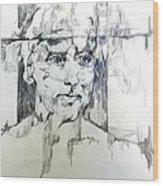 Drawing Of A Man Wood Print
