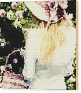 Dreamy Cottage Chic Girl Holding Basket Roses Wood Print by Kathy Fornal