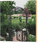 Dreamy French Garden Arbor And Gate Wood Print by Kathy Fornal