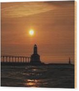 Dreamy Sunset At The Lighthouse Wood Print