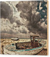 Dreamy Wrecked Wooden Fishing Boats Wood Print