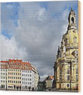 Dresden Church Of Our Lady And New Market Wood Print