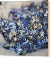 Dried Blue Flowers In Burlap Bag Wood Print by Alexandre Fundone