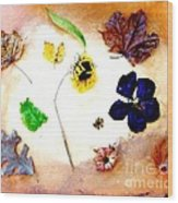 Dried Flowers And Leaves Wood Print