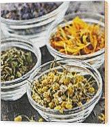 Dried Medicinal Herbs Wood Print by Elena Elisseeva