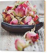 Dried Rose Buds Wood Print