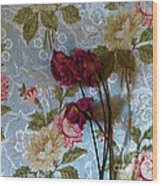Dried Roses Against The Wallpaper Wood Print