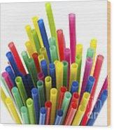 Drinking Straws Wood Print