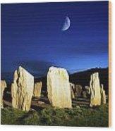 Drombeg, County Cork, Ireland Moon Over Wood Print