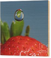 Droplet Falling On A Strawberry Wood Print