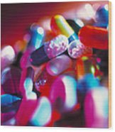 Drug Pills And Capsules Wood Print