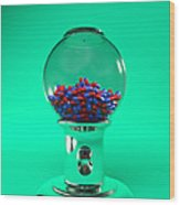 Drug Pills In A Sweet Dispenser Wood Print
