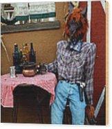 Drunk Werewolf Diner Wood Print