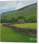 Dry Stone Walls And Stone Barn Wood Print