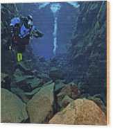 Dry Suit Divers In Gin Clear Waters Wood Print