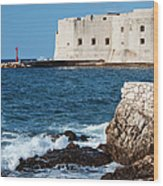 Dubrovnik Fortification And Bay Wood Print
