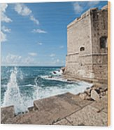 Dubrovnik Fortification And Pier Wood Print