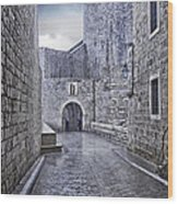 Dubrovnik In The Rain - Old City Wood Print